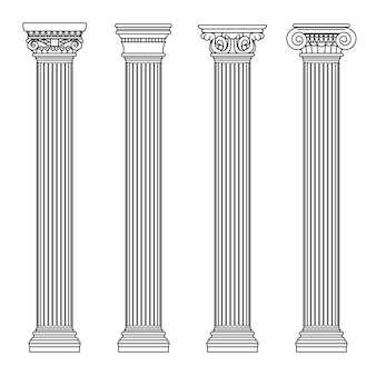 Arquitectura griega y romana de piedra clásica. ilustración vectorial de contorno columna de arquitectura y pilar antiguo.