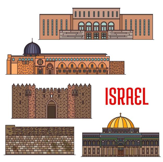 Arquitectura histórica de israel, edificios de iglesias y templos, lugares religiosos de turismo de jerusalén de vector. kotel del muro de las lamentaciones, el santuario de la cúpula de la roca en el monte del templo y la mezquita islámica de al-aqsa