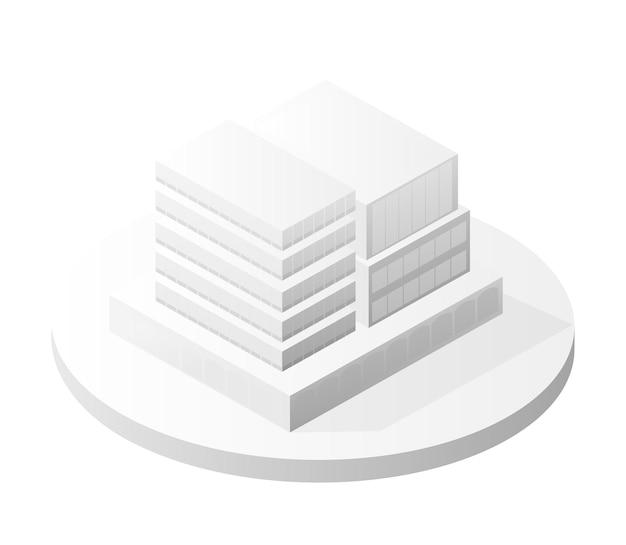 La arquitectura del hogar del edificio inteligente del icono del edificio blanco es una idea de la ilustración isométrica urbana del estilo plano del equipo empresarial de la tecnología