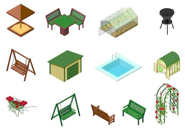 Arquitectura de jardín objetos 3d ilustración isométrica. caja de arena, mesa, silla, columpio, carrito, invernadero, flores, banco, piscina, barbacoa y rosas de flores