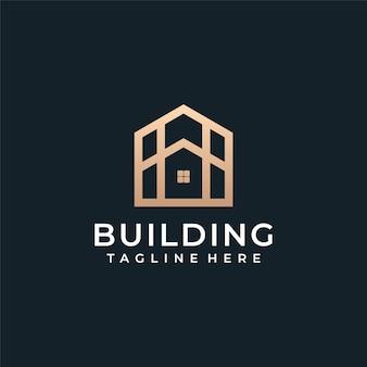 Arquitectura de lujo edificio vector logo inmobiliario.