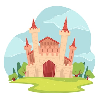 Arquitectura medieval y castillo del país de las maravillas, estructura de fantasía o cuento de hadas. turismo o patrimonio del viejo país. reino o morada encantada del príncipe y la princesa. vector en estilo plano
