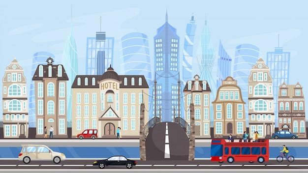 Arquitectura de metrópolis moderna, edificios de la ciudad y tráfico, ilustración