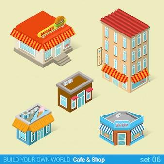 Arquitectura moderna ciudad negocios edificios plano isométrico conjunto de vectores cafetería de helados de comida rápida.