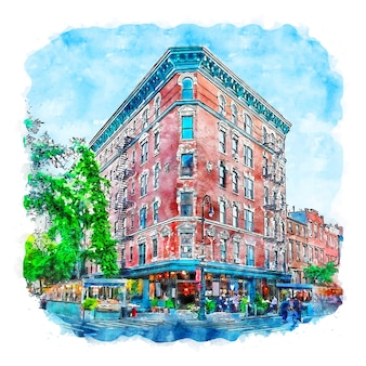 Arquitectura nueva york acuarela boceto dibujado a mano ilustración