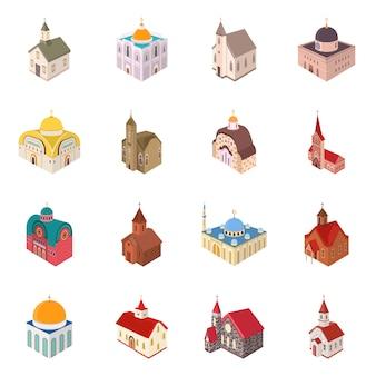 Arquitectura de objeto aislado y símbolo de construcción. colección arquitectura y clero