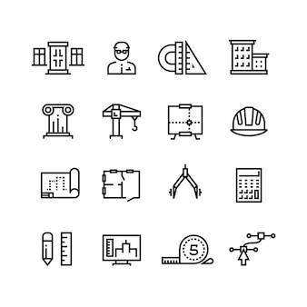 Arquitectura, planificación de edificios, conjunto de iconos de línea de construcción de viviendas