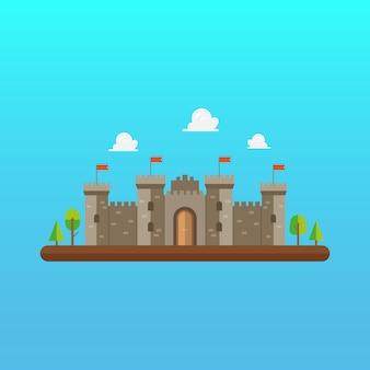 Arquitectura de torre de castillo en diseño de estilo plano