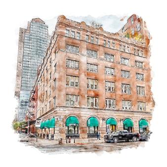 Arquitectura tribeca ciudad de nueva york acuarela dibujo dibujado a mano ilustración