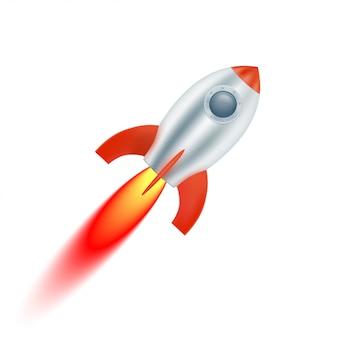 Arranca la nave espacial con aletas rojas. ilustración vectorial