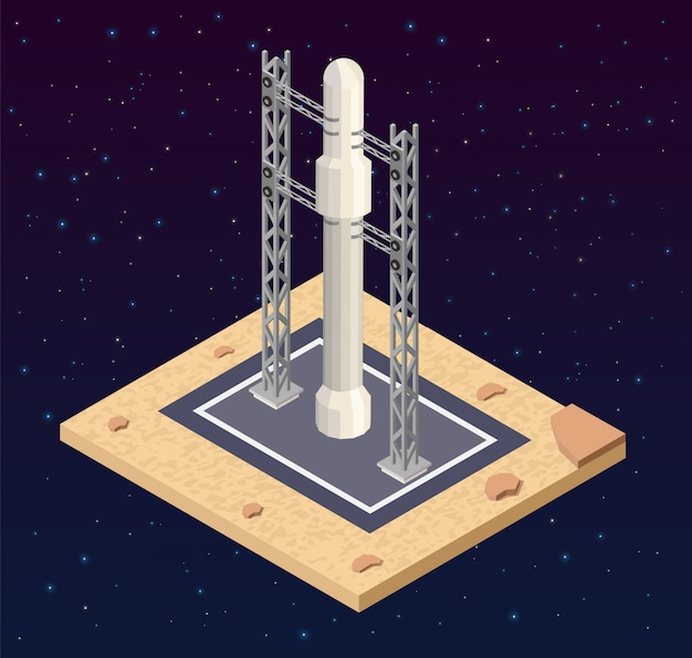 Arranque isométrico de nave baja en cosmodromo poli.