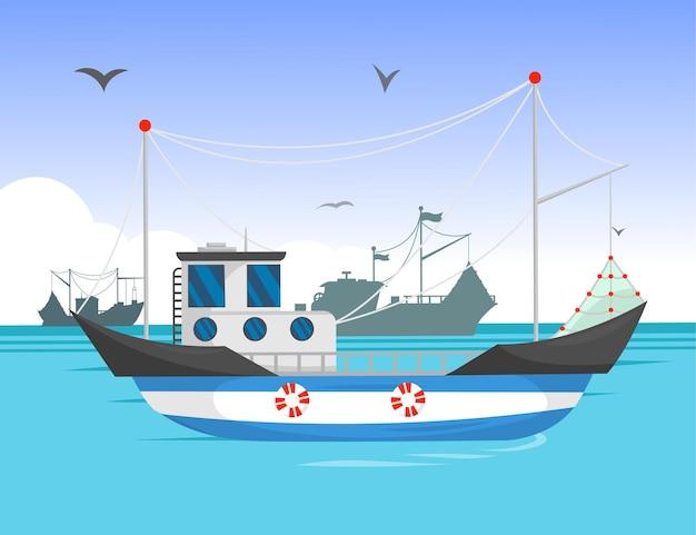 Arrastrero navegando en la ilustración de dibujos animados de luz del día