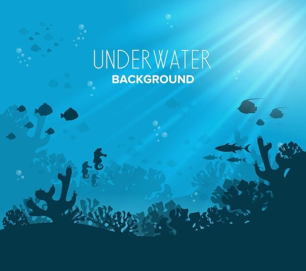 Arrecife de coral de agua azul profundo y plantas submarinas