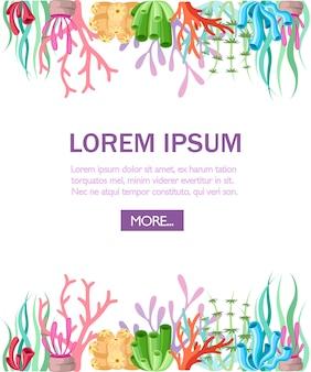 Arrecife de coral colorido. página del sitio web y aplicación móvil. flora marina con estilo. ilustración sobre fondo blanco