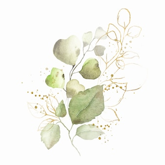Arreglo de acuarela con hojas verdes bouquet de hierbas doradas
