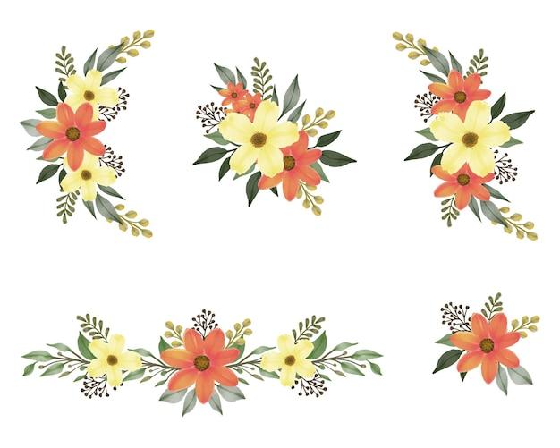 Arreglo de acuarela ramo de naranja y amarillo para saludo y tarjeta de boda