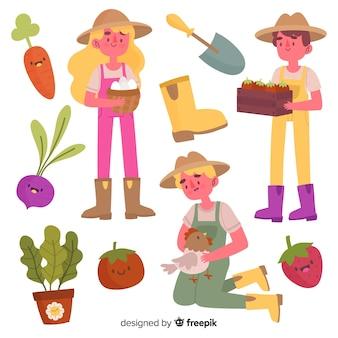 Arreglo de elementos agrícolas.