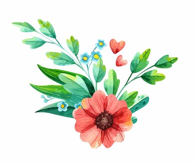Arreglo floral de acuarela con plantas de primavera: anémonas y nomeolvides.