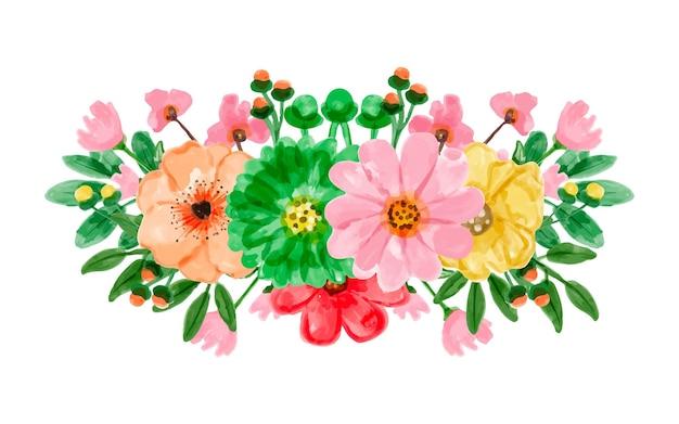 Arreglo floral colorido con acuarela