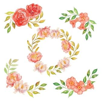 Arreglo y guirnalda de flores florales coral acuarela