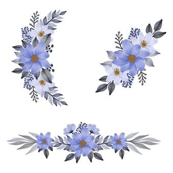 Arreglo de ramo de flores de acuarela de color púrpura para invitación de boda