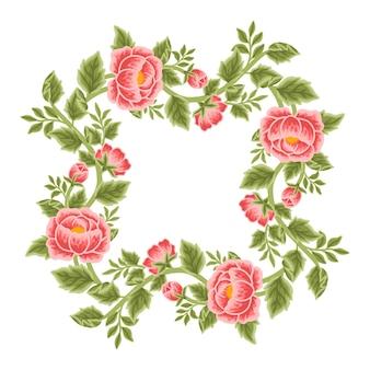 Arreglos de corona y marco de flores de peonía vintage