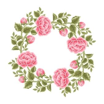 Arreglos de corona y marco de flores rosas vintage