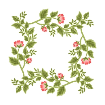 Arreglos de corona y marco de flores vintage