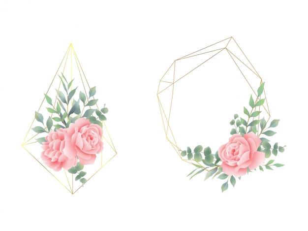 Arreglos florales con marcos y formas geométricas.