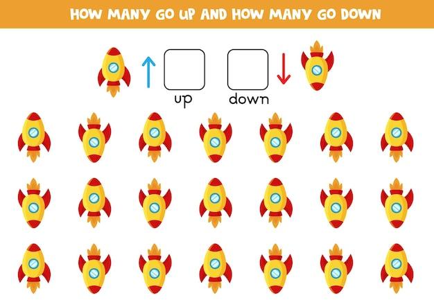 Arriba o abajo con cohete de dibujos animados lindo. juego educativo para aprender a diestra y siniestra.