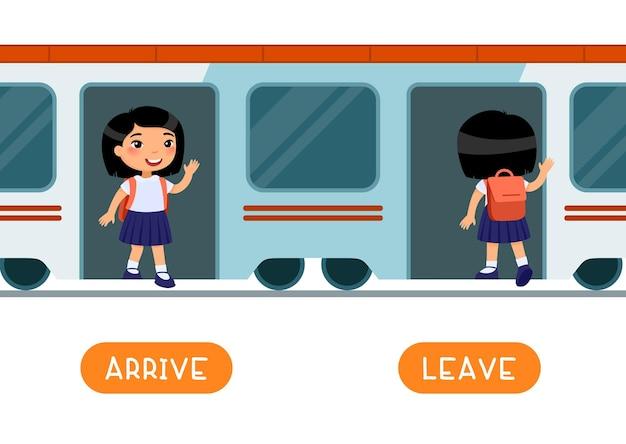 Arrive and leave antónimos word card flashcard para el aprendizaje del idioma inglés concepto de opuestos