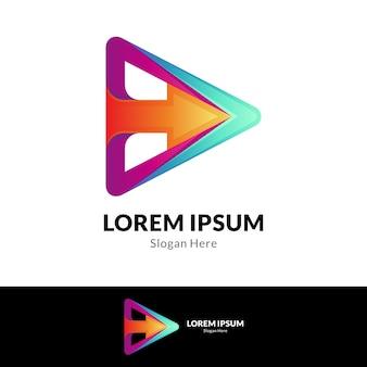 Arrow media play plantilla de logotipo moderno
