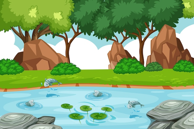 Arroyo en la escena del bosque con algunos peces.