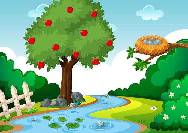 Arroyo en la escena del bosque con manzano.