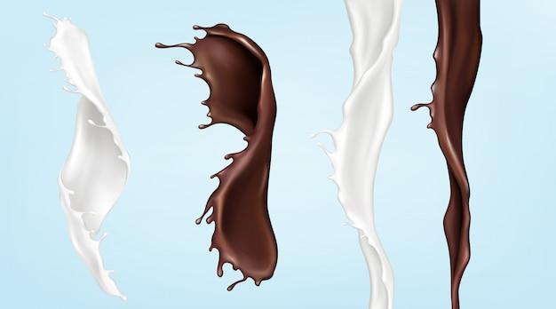 Arroyos de leche y chocolate, vertiendo líquidos en forma de remolino