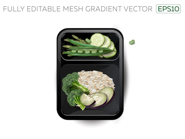 Arroz al vapor con verduras en lonchera.