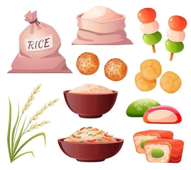 Arroz en bolsa y tazón de harina en espiga de grano de saco y comida tradicional japonesa