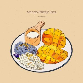 Arroz pegajoso dulce tailandés con mango, dibujo a mano.