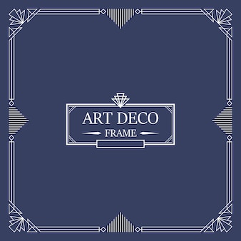 Art deco borde y marco. líneas blancas sobre fondo azul