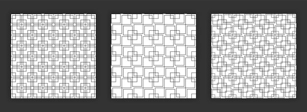 Art deco colección de patrones sin fisuras en blanco y negro conjunto de patrones transparentes abstractos.