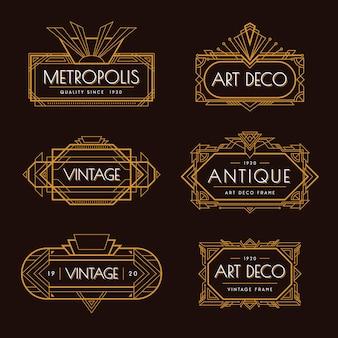 Art deco dorado elegante estilo vintage elementos decorativos ilustración