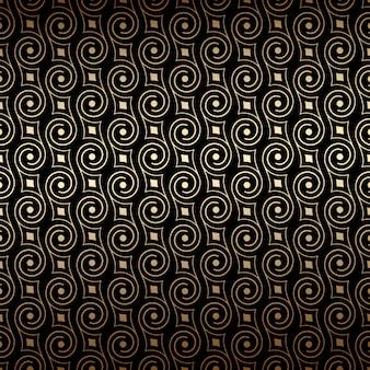 Art déco negro y oro de patrones sin fisuras con remolinos.