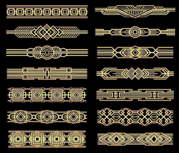 Art deco vector línea fronteras conjunto