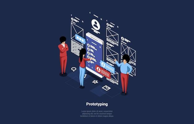 Arte 3d del proceso de desarrollo, prueba y creación de prototipos de aplicaciones móviles.