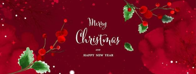 Arte abstracto acuarela de navidad sobre fondo rojo. acebo deja ramas sobre la nieve cayendo con acuarela pintada a mano. adecuado para diseño de encabezado, banner, portada, web, tarjetas.