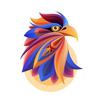 Arte abstracto colorido de la cabeza del águila con el fondo blanco. perfecto para imprimir camisetas, postales o carteles