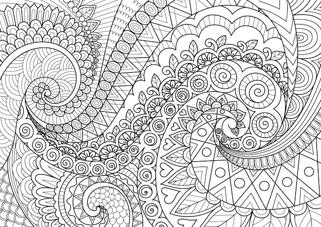 Arte abstracto de línea para fondo, libro de colorear para adultos, ilustración de página para colorear