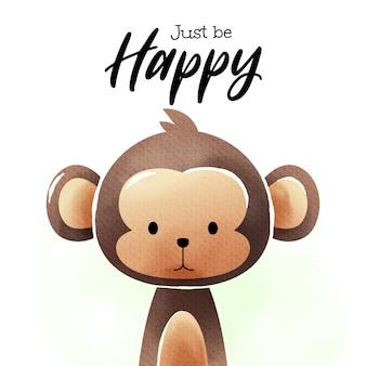 Arte de acuarela de mono de dibujos animados