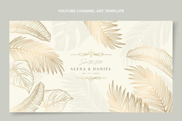 Arte de canal de youtube de boda dorada de lujo realista