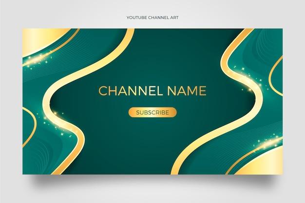 Arte de canal de youtube de lujo dorado realista